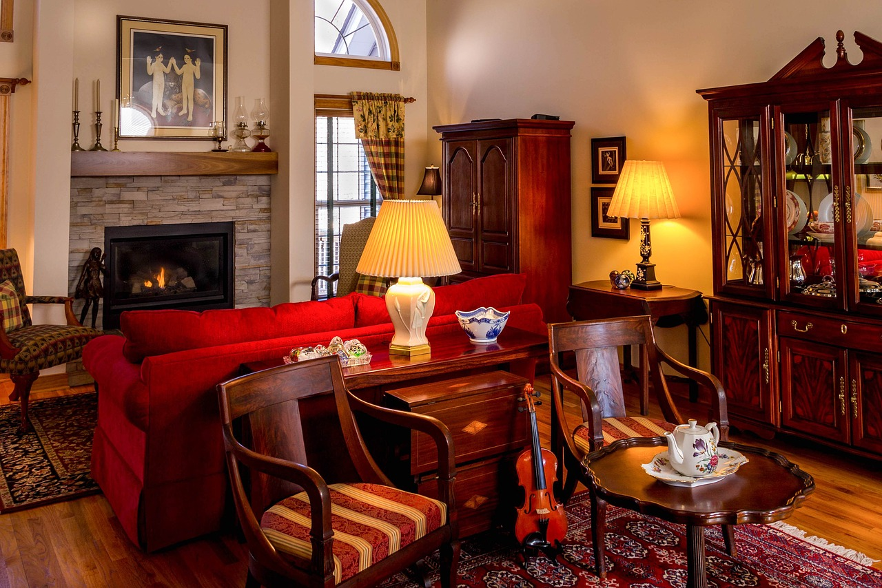 living room with antique furnitures