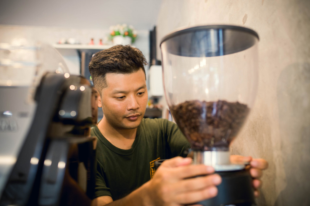grinding coffee beans