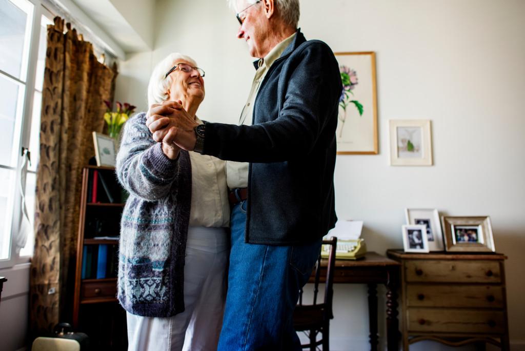 elderly couple living together